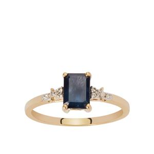 Ethiopian Blue Sapphire Ring with White Zircon in 9K Gold 1.14cts