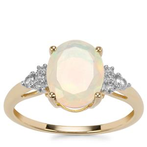 Ethiopian Opal Ring with White Zircon in 9K Gold 1.57cts