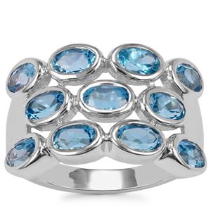 Swiss Blue Topaz Ring in Sterling Silver 3.03cts