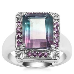 Zebra Fluorite Ring with Zambian Amethyst in Sterling Silver 5.67cts