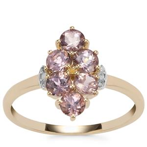 Mahenge Pink Spinel Ring with Diamond in 10K Gold 1.13cts