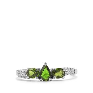 Chrome Diopside & White Topaz Sterling Silver Ring ATGW 1.04cts