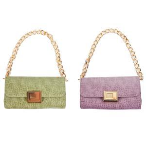 Destello Mock Croc Deluxe Shouler Bag .01= Purple /  .02=Green