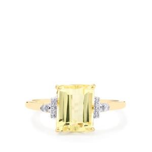Canary Kunzite Ring with Diamond in 10k Gold 3.38cts