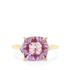 Lehrer KaleidosCut Rose De France Amethyst, Thai Ruby & Diamond 9K Gold Ring ATGW 3.33cts (F)