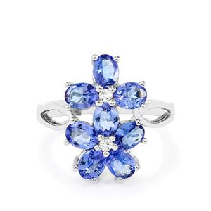 AA Tanzanite & White Topaz Sterling Silver Ring ATGW 2.90cts