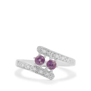 Rose du Maroc Amethyst Ring with White Zircon in Sterling Silver 0.40ct