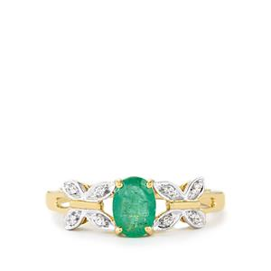 Zambian Emerald Ring with White Zircon in 10k Gold 0.77cts