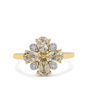 Csarite® & Diamond 9K Gold Ring ATGW 1.75cts