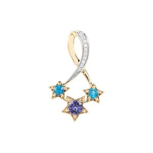 AA Tanzanite, Neon Apatite Star Pendant with White Zircon in 9K Gold 0.60ct