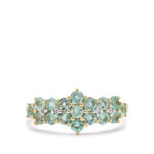 Aquaiba™ Beryl & Diamond 9K Gold Ring ATGW 0.97ct