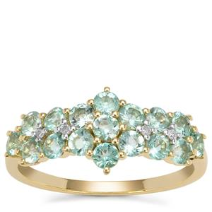 Aquaiba™ Beryl Ring with Diamond in 9K Gold 0.97ct