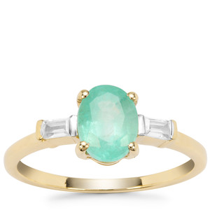 Malysheva Emerald Ring with White Zircon in 9K Gold 1.48cts