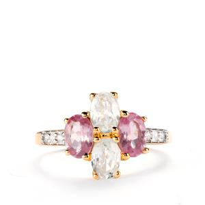 Pink Spinel Ring with White Zircon in 10k Gold 2.37cts