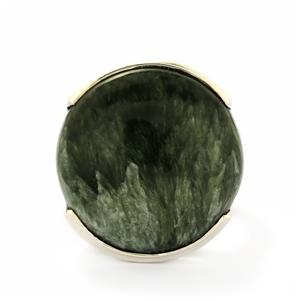 20.00ct Siberian Seraphinite Sterling Silver Tookalon Ring