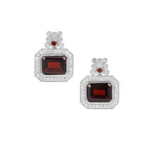 Nampula Garnet & White Zircon Sterling Silver Earrings ATGW 6.44cts