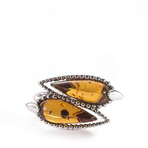 Baltic Cognac Amber Ring in Sterling Silver (13 x 5mm)