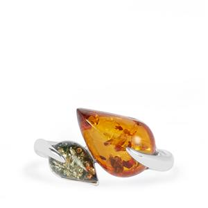 Baltic Cognac Amber Ring with Baltic Green Amber in Sterling Silver