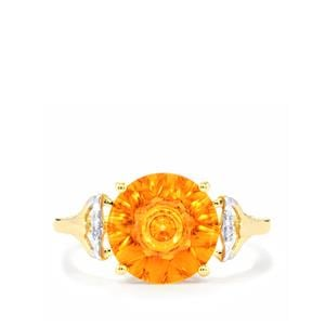 Lehrer QuasarCut Padparadscha Quartz Ring with Diamond in 10k Gold 2.91cts
