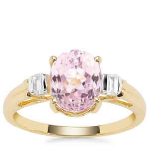 Natural Nuristan Kunzite Ring with White Zircon in 9K Gold 2.75cts