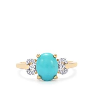 Sleeping Beauty Turquoise Ring with Diamond in 9K Gold 1.54cts