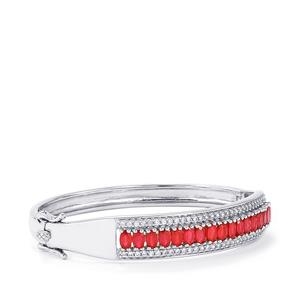 Malagasy Ruby Bangle with White Zircon in Sterling Silver 7.16cts