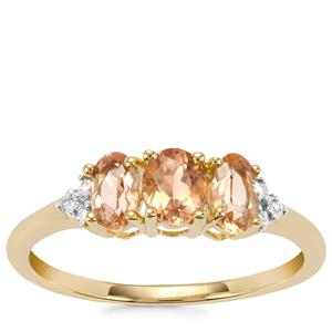 Ouro Preto Imperial Topaz Ring with Diamond in 9K Gold 1cts