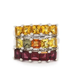 Amarelo Beryl, Rhodolite Garnet & Multi-Colour Sapphire Sterling Silver Set of 3 Ring ATGW 5.63cts