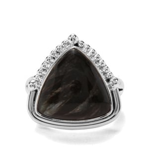 7ct Midnight Seraphinite Sterling Silver Indus Valley Ring
