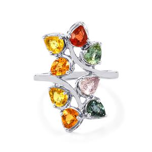 Multi-Color Sapphire Ring in Sterling Silver 3.31cts