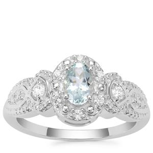 Pedra Azul Aquamarine Ring with White Zircon in Sterling Silver 0.61ct