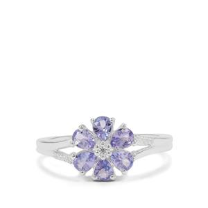 Tanzanite Ring with White Zircon in Sterling Silver 0.80ct