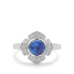 Rose Cut Sapphire & White Zircon Sterling Silver Ring ATGW 2.09cts (F)