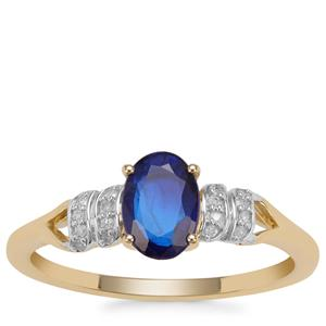 Santorinite™ Blue Spinel Ring with Diamond in 9K Gold 0.96ct