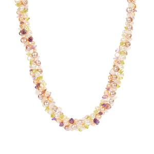 Kaori Cultured Pearl, Amethyst, Peridot and Rose Quartz Necklace in Rhodium Plated Sterling Silver