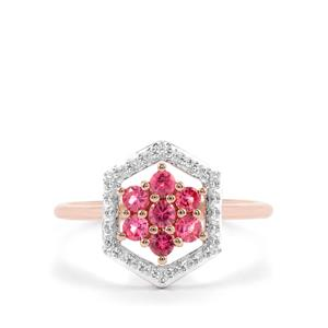 Mahnege Red Spinel Ring with White Zircon in 10K Rose Gold 0.56ct