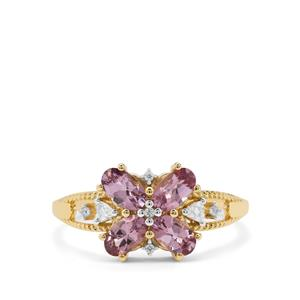 Mahenge Purple Spinel Ring with White Zircon in 9K Gold 1.19cts