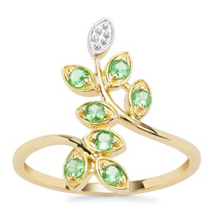 D Cut Tsavorite Garnet Ring in 9K Gold 0.29ct