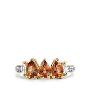 Sopa Andalusite & White Zircon 10K Gold Ring ATGW 1.50cts