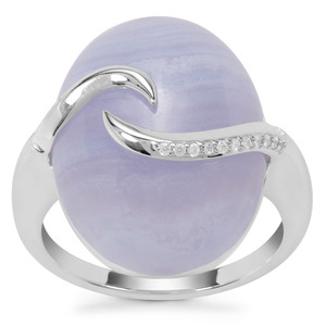 Blue Lace Agate Ring with White Zircon in Sterling Silver 14.50cts