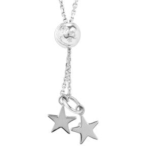 "18"" Sterling Silver Altro Diamond Cut Star Slider Necklace 4.23g"