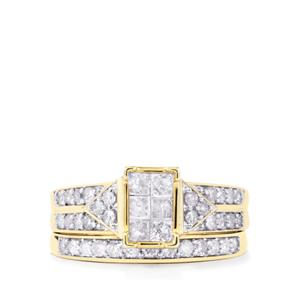 Diamond Set of 2 Stacker Rings in 9K Gold 1ct