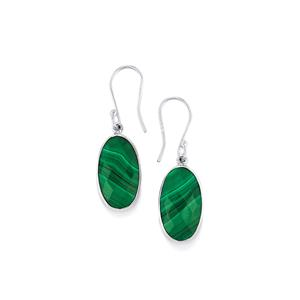 Malachite Earrings in Sterling Silver 17.48cts