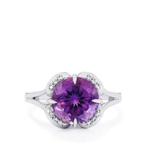 Ametista Amethyst & White Topaz Sterling Silver Centuple Ring ATGW 3.69cts