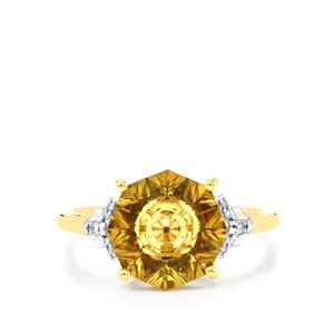 Lehrer KaleidosCut Champagne Quartz, Gouveia Andalusite Ring with Diamond in 10K Gold 3.13cts
