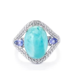 Larimar, Tanzanite Ring with Diamond in Sterling Silver 7.54cts