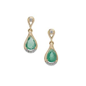 Kafubu Emerald & White Zircon 9K Gold Earrings ATGW 1.25cts