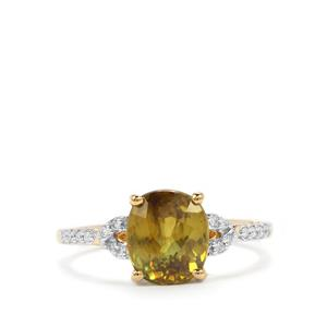 Ambilobe Sphene & Diamond 18K Gold Tomas Rae Ring MTGW 2.78cts