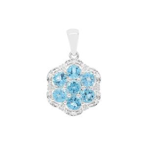 Swiss Blue Topaz Pendant with White Zircon in Sterling Silver 2.57cts