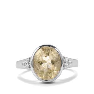 Bahia Rutilite Ring & White Topaz Sterling Silver ATGW 3.29cts